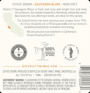 District 7 NV Sauvignon Blanc Back Label – transp
