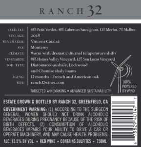 Ranch 32 2018 Meritage Back Label