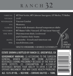 Ranch 32 2018 Meritage Back Label – transp