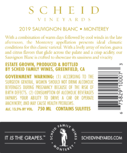 Scheid Vineyards 2019 Sauvignon Blanc Back Label – transp