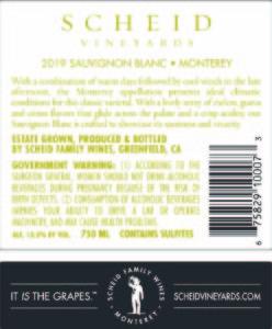 Scheid Vineyards 2019 Sauvignon Blanc Back Label