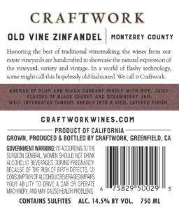 Craftwork 2019 Zinfandel Back Label – transp