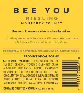 Bee You 2019 Riesling Back Label
