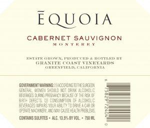 Equoia NV Cabernet Sauvignon Back Label