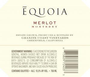 Equoia NV Merlot Back Label