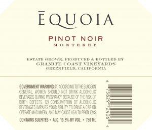 Equoia NV Pinot Noir Back Label