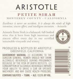 Aristotle NV Petite Sirah Back Label