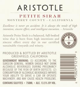 Aristotle NV Petite Sirah Back Label – transp