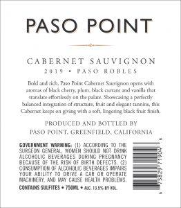 Paso Point 2019 Cabernet Sauvignon Back Label -highres