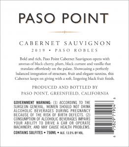 Paso Point 2019 Cabernet Sauvignon Back Label -transp