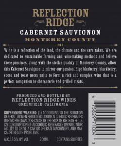 Reflection Ridge NV Cabernet Sauvignon Back Label