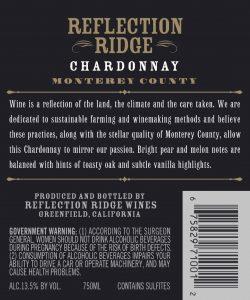 Reflection Ridge NV Chardonnay Back label