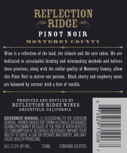 Reflection Ridge NV Pinot Noir Back Label