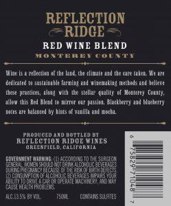 Reflection Ridge NV Red Blend Back Label