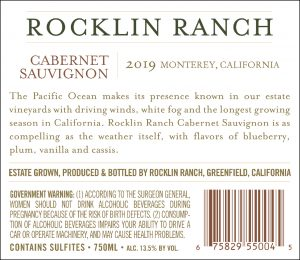 Rocklin Ranch 2019 Cabernet Sauvignon back label