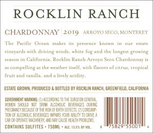 Rocklin Ranch 2019 Chardonnay back label
