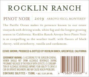 Rocklin Ranch 2019 Pinot Noir back label