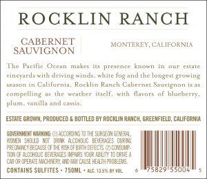 Rocklin Ranch NV Cabernet Sauvignon back label
