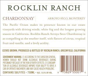 Rocklin Ranch NV Chardonnay back label