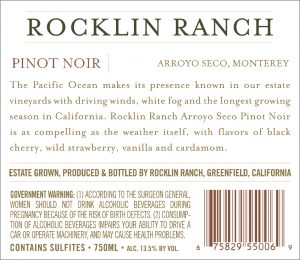 Rocklin Ranch NV Pinot Noir back label