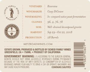 Metz Road 2018 Chardonnay Back Label