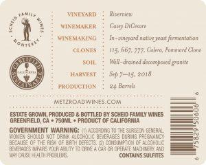 Metz Road 2018 Pinot Noir Back Label