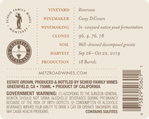 Metz Road 2019 Chardonnay back label – transp