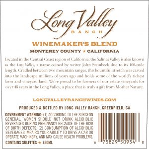 Long Valley Ranch NV Winemaker's Red Blend Back Label -highres