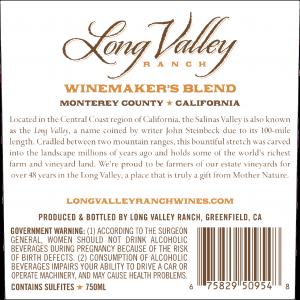 Long Valley Ranch NV Winemaker's Red Blend Back Label -transp