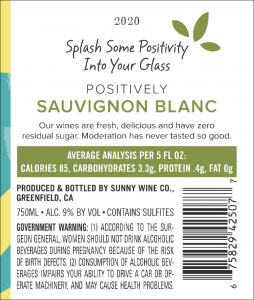 Sunny 2020 Sauvignon Blanc Back Label – transp