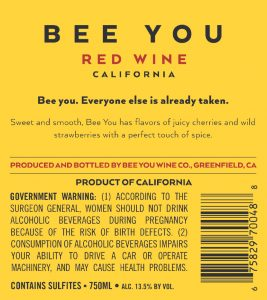 Bee You NV Sweet Red Back Label -highres