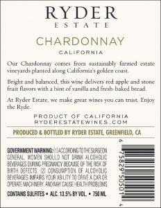 Ryder Estate 2020 Chardonnay Back Label -high res