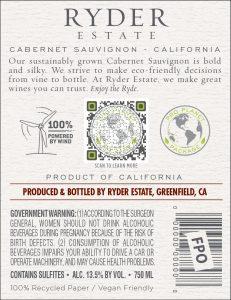 Ryder Estate 2020 Cabernet Sauvignon Back Label -highres