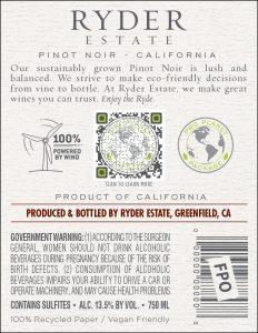 Ryder Estate 2020 Pinot Noir Back Label -high res